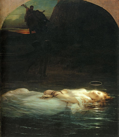 Paul Delaroche. Mártir cristiana ahogada en el Tíber en tiempos de Diocleciano. 1853. Óleo sobre lienzo, 73.5x60 cm. Hermitage Museum, St Petersburg, Russia
